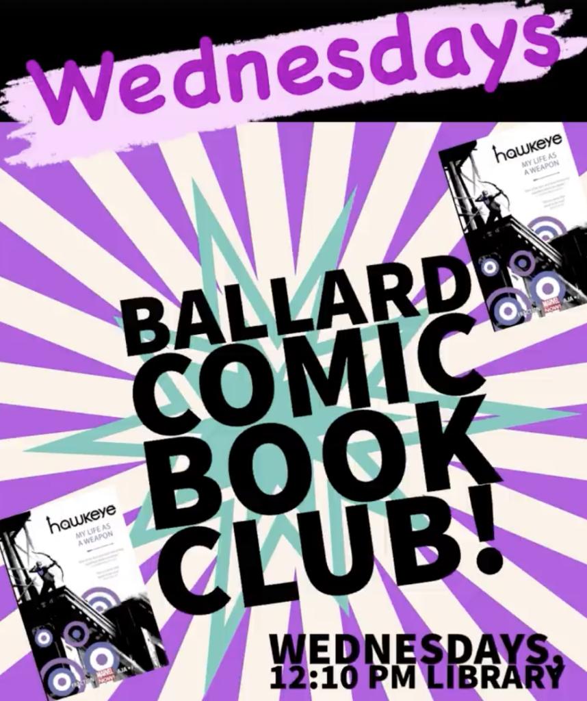 Comic Book Club! Purple graphic 12:10 Wed