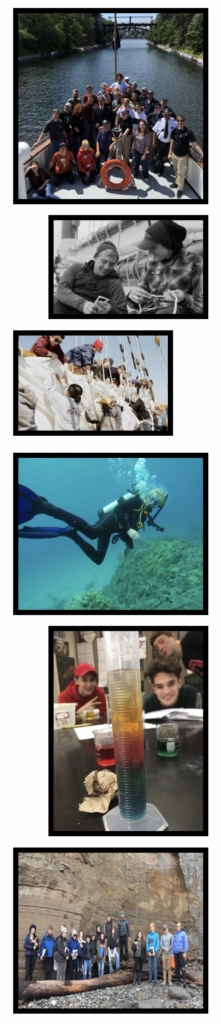 Maritime students on boat, snorkeling, experimenting, hiking