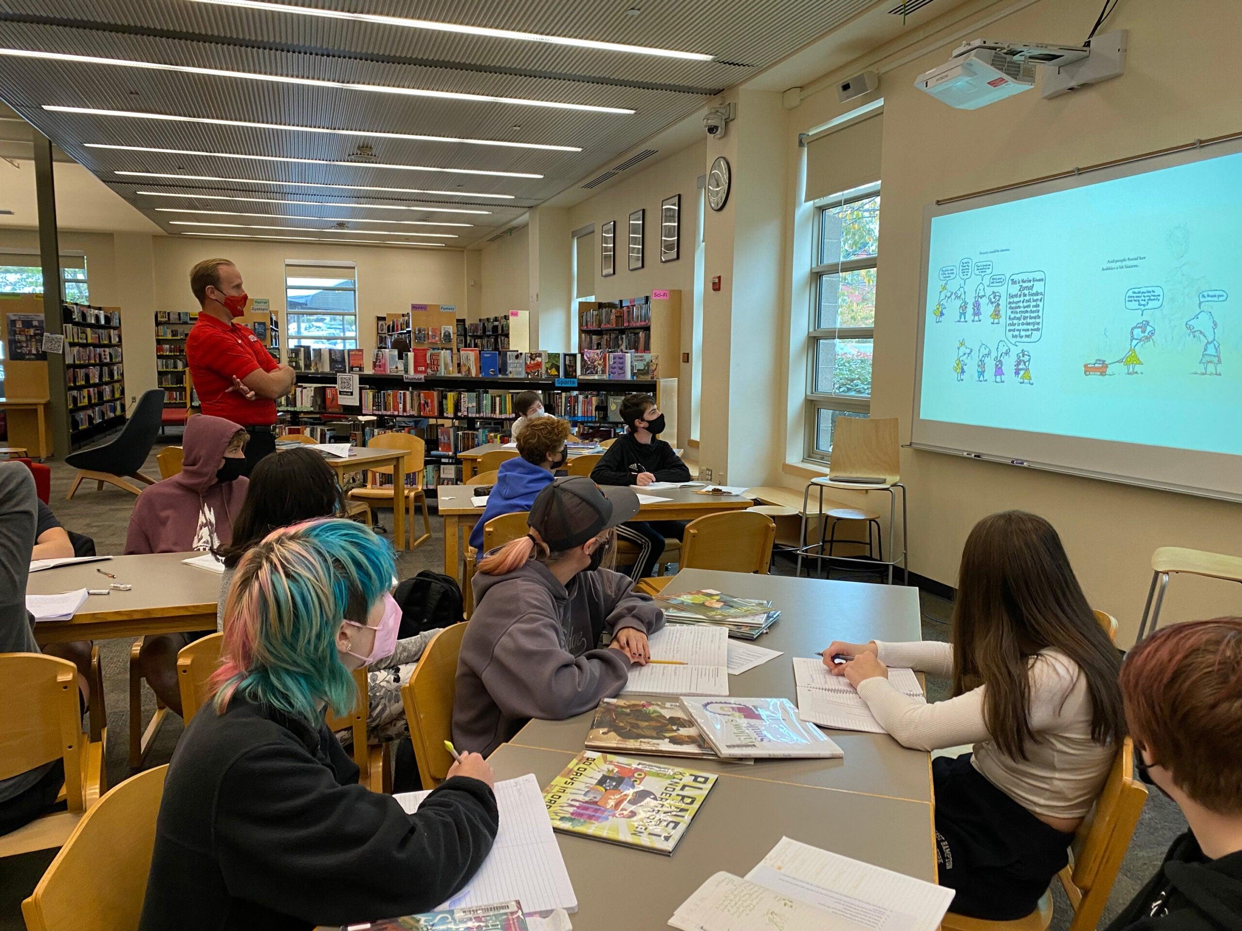 Principal Wynkoop teaching in the Library