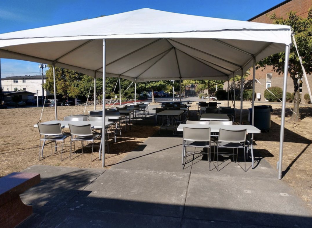 Outdoor Tent and tables and chairs